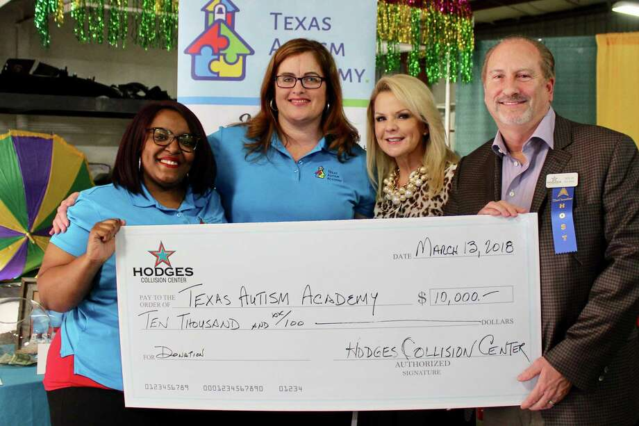 Hodges Collision Center donates $10,000 to Texas Autism Academy at the recent Woodlands Area Chamber of Commerce Business After Hours hosted by Hodges. Pictured from left are two of the Texas Autism Academy founders Shelinta Perez and Cary Leake Mollinedo, and Deborah and Steve Guinn, president/CEO of Hodges Collision Center. Photo: Courtesy Photo