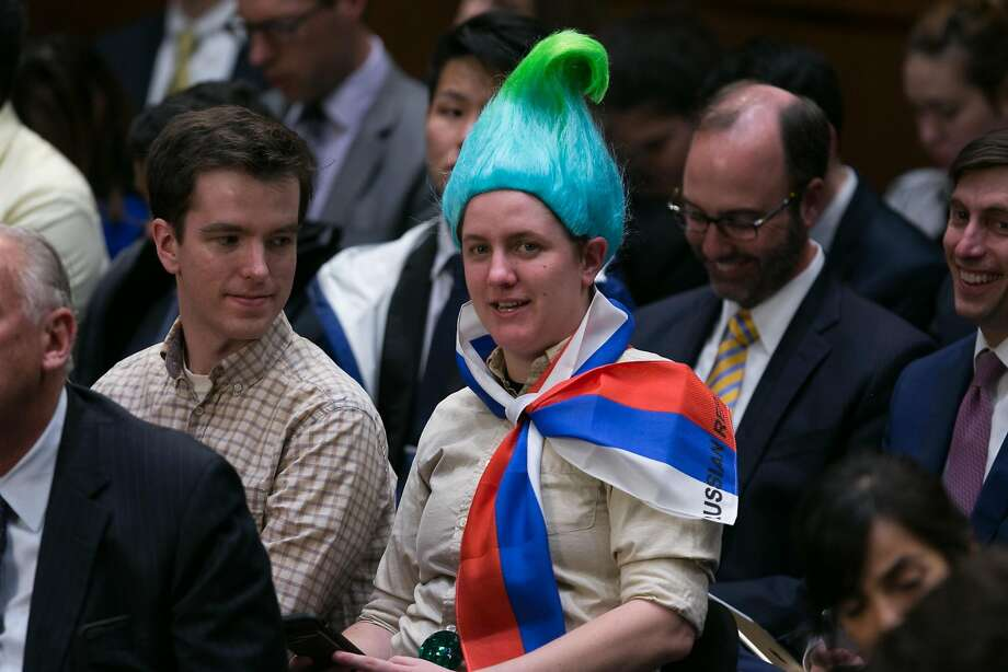 A person dressed as a Russian troll doll in attendance as Mark Zuckerberg, the chief executive of Facebook, testified before a joint Senate Judiciary and Commerce Committee hearing, on Capitol Hill in Washington, April 10, 2018. Zuckerberg faced tough questions on the company's mishandling of data in a series of debacles over the past year. (Lawrence Jackson/The New York Times) Photo: LAWRENCE JACKSON, NYT