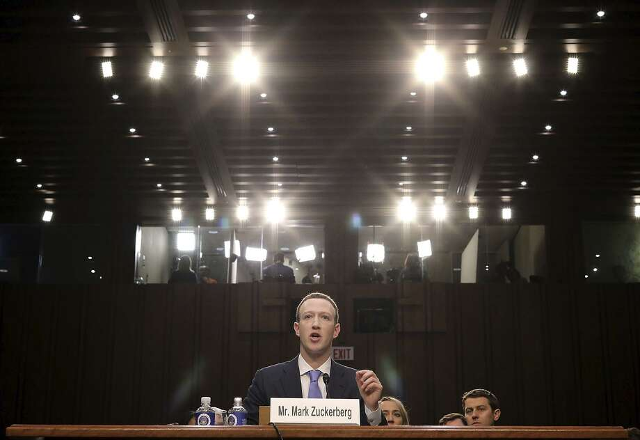 Facebook CEO Mark Zuckerberg testifies before a combined Senate Judiciary and Commerce committee hearing. Photo: Chip Somodevilla / Getty Images / 2018 Getty Images