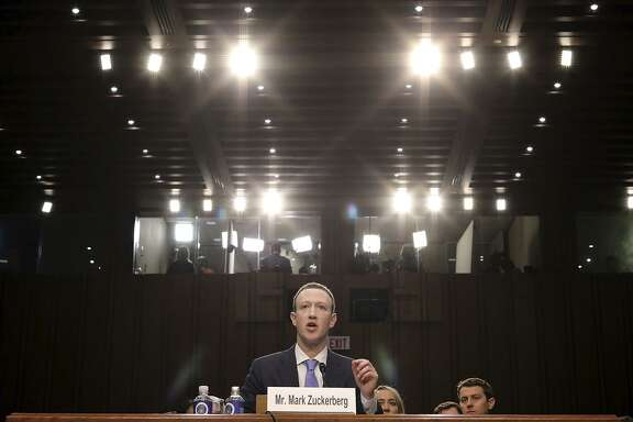 Facebook CEO Mark Zuckerberg testifies before a combined Senate Judiciary and Commerce committee hearing.