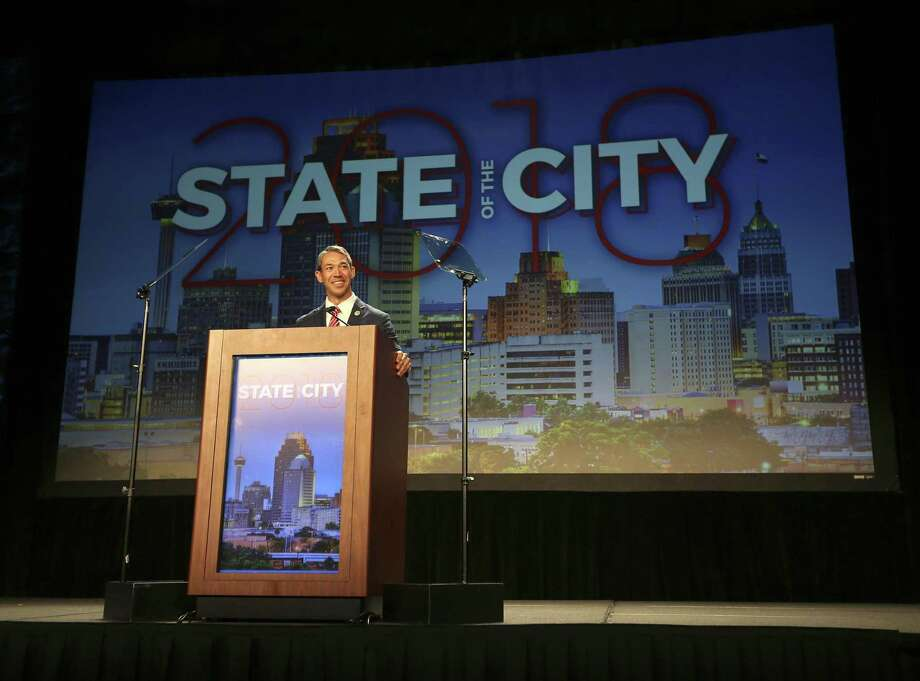 Mayor Ron Nirenberg gives the state of the city address Tuesday, April 10, 2018 at the San Antonio Convention Center. Photo: William Luther,  Staff / San Antonio Express-News / © 2018 San Antonio Express-News
