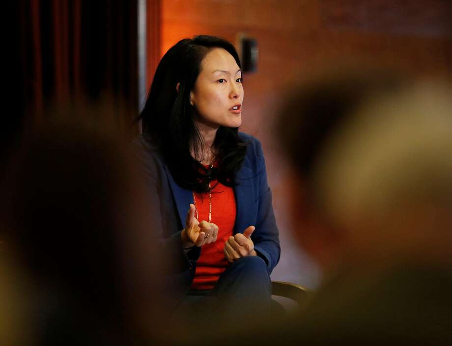 Supervisor Jane Kim answers a question during a Chronicle-sponsored mayoral debate Monday night — her campaign office in the Mission was the target of a burglar. Photo: Carlos Avila Gonzalez / The Chronicle