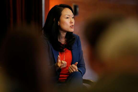 Supervisor Jane Kim answers a question during a Chronicle-sponsored mayoral debate, featuring the three main candidates -- Angela Alioto, Kim and London Breed, (Mark Leno was unable to attend) at the City Club in San Francisco, Calif., on Monday, April 9, 2018.