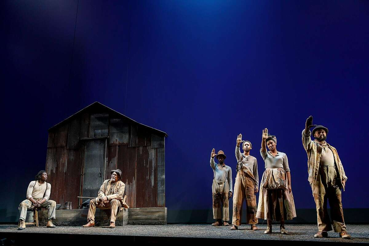 """Members of the company of�""""Father Comes Home from the Wars (Parts 1, 2 & 3),"""" a coproduction between ACT and Yale Repertory Theatre."""