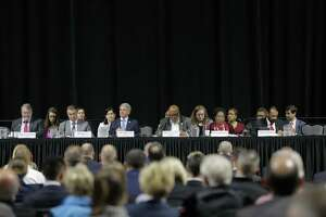 "The U.S. House of Reps., Committee on Homeland Security hold a hearing, ""Houston Strong: Hurricane Harvey Lessons Learned and the Path Forward at Berry Hall on Monday, April 9, 2018, in Cypress. ( Elizabeth Conley / Houston Chronicle )"
