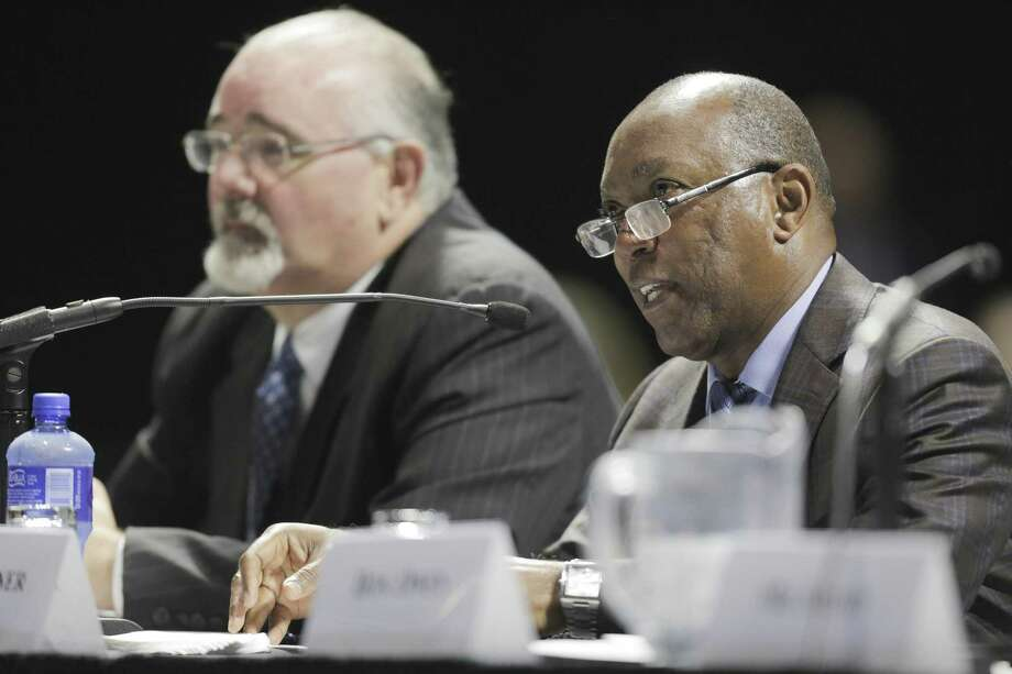 "Houston Mayor Sylvester Turner answers questions during the U.S. House of Reps., Committee on Homeland Security's hearing, ""Houston Strong: Hurricane Harvey Lessons Learned and the Path Forward at Berry Hall on Monday, April 9, 2018, in Cypress. ( Elizabeth Conley / Houston Chronicle ) Photo: Elizabeth Conley, Chronicle / Houston Chronicle / © 2018 Houston Chronicle"
