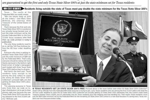 Advertisements from the Federated Mint are urging readers to buy silver bars for $99. But the Federated Mint isn't part of the U.S. government.