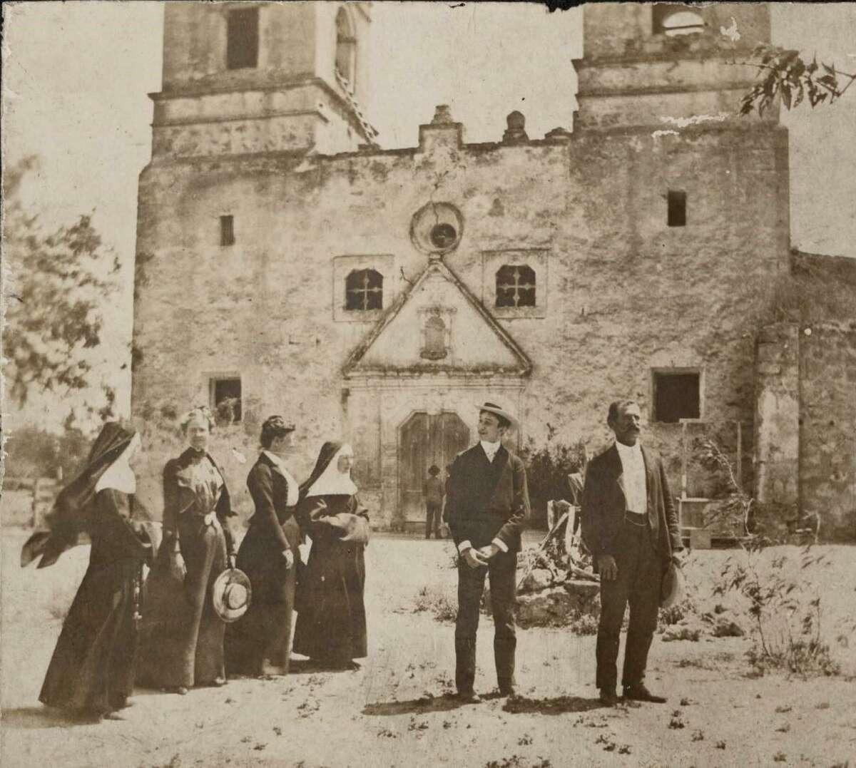 Mother St. Alphonse Brollier (near the middle) visits Mission Nuestra Señora de la Purísima Concepción de Acuna (Mission Concepción) in 1882.