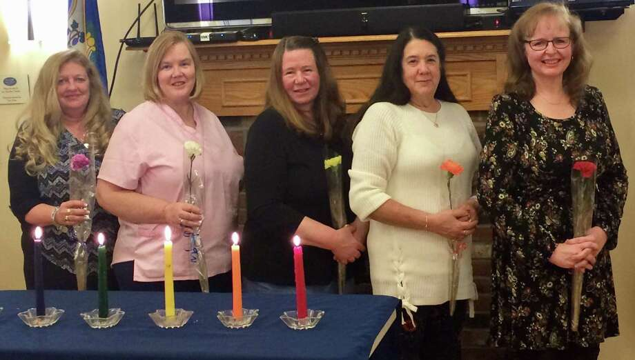 The Bridgewater Volunteer Fire Department Women's Auxiliary recently held a ceremony to install officers for 2018. Officers are, from left to right, Michele King (hospitality), Laura Abbott (membership), Lois Gilmore (secretary), Ann Frattalone (vice president) and Carol Wilbur (president). Missing is Courtney Wilson (treasurer). Photo: Courtesy Of Bridgewater Volunteer Fire Department Womens Auxiliary / The News-Times Contributed
