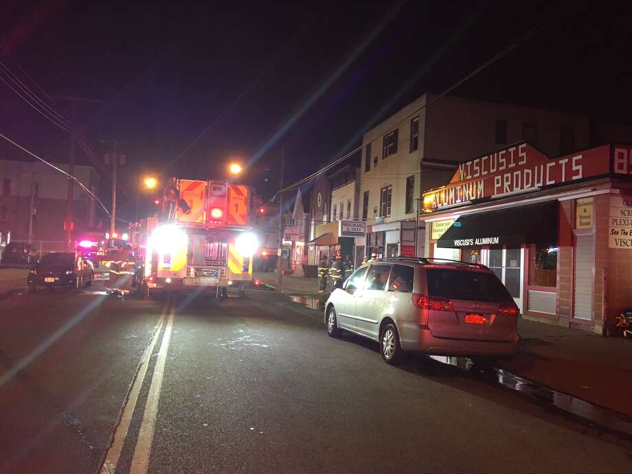 A fire broke out on Albany Street Tuesday evening in Schenectady. (Wendy Liberatore/Times Union) Photo: Wendy Liberatore/Times Union