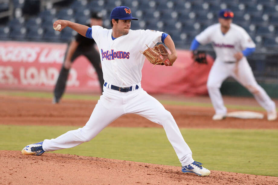 RockHounds' Joel Seddon pitches against Tulsa April 10, 2018, at Security Bank Ballpark. James Durbin/Reporter-Telegram Photo: James Durbin