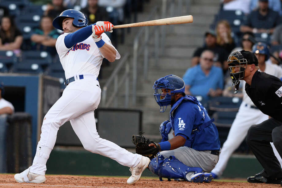 RockHounds' J.P. Sportman hits against Tulsa April 10, 2018, at Security Bank Ballpark. James Durbin/Reporter-Telegram Photo: James Durbin