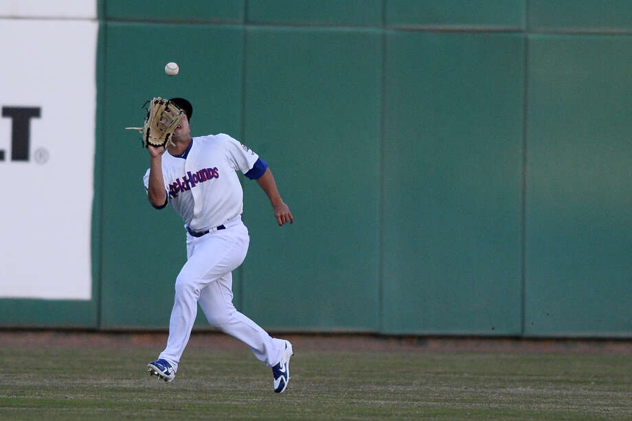 RockHounds' Tyler Ramirez makes a catch against Tulsa April 10, 2018, at Security Bank Ballpark. James Durbin/Reporter-Telegram Photo: James Durbin