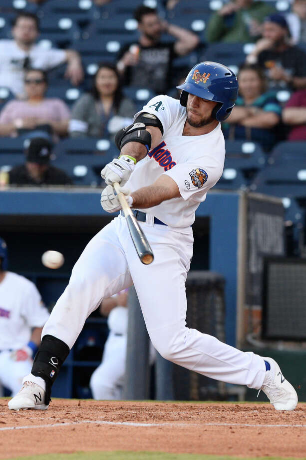 RockHounds' Brett Siddall (24) hits against Tulsa April 10, 2018, at Security Bank Ballpark. James Durbin/Reporter-Telegram Photo: James Durbin