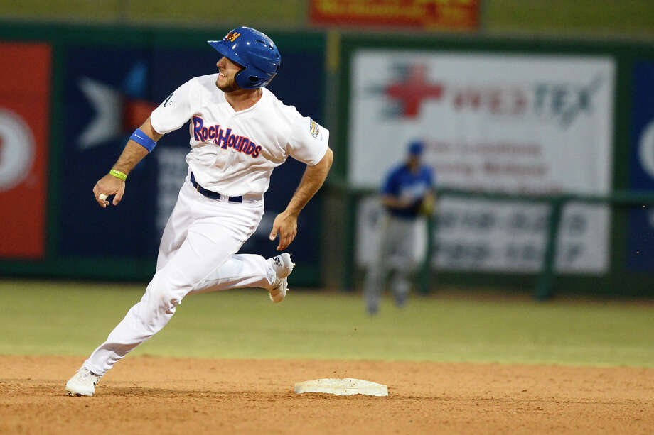RockHounds' Brett Siddall rounds second base against Tulsa April 10, 2018, at Security Bank Ballpark. James Durbin/Reporter-Telegram Photo: James Durbin