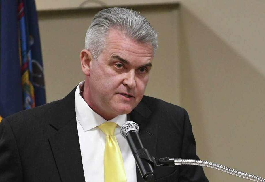"Rensselaer County Executive Steven McLaughlin as seen in the Rensselaer  County Legislature chambers in March 2018. McLaughlin lambasted fellow  Republican and North Greenbush town supervisor Louis Desso on Twitter in  a series of tweets from Nov. 8 to Nov. 10, 2018, calling Desso ""a  hypocrite, con man, and liar."" (Lori Van Buren/Times Union) Photo: Lori Van Buren / 20043199A"