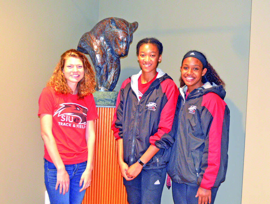Edwardsville High School graduates, left to right, Allie Sweatt, Deborah Blackburn and Lauren White are key performers for the SIUE women's track and field team.