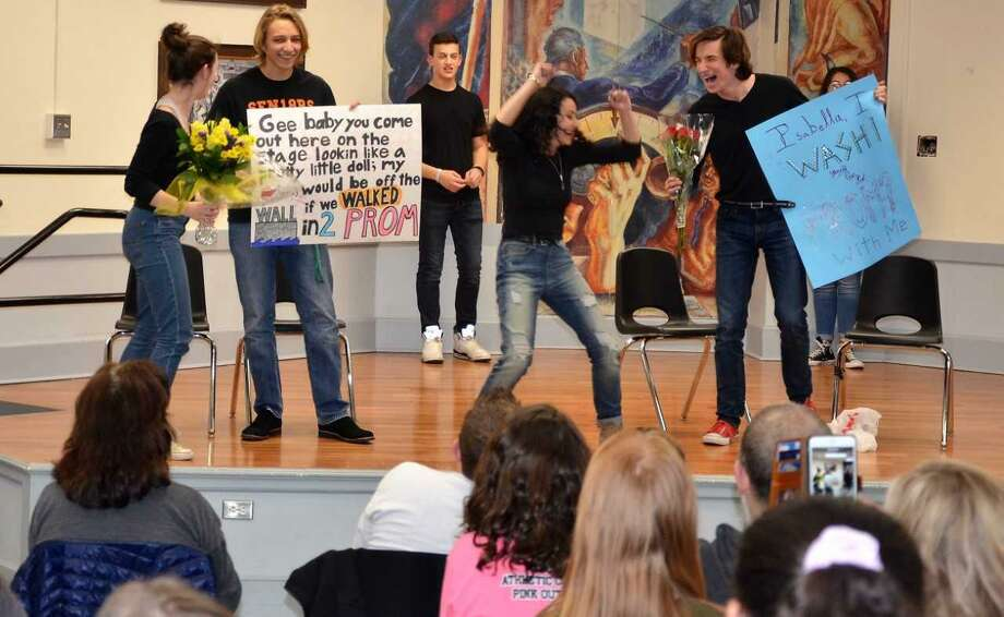 Stamford High junior John Bolognino asked his girlfriend to prom during an improv show at Stamford High on April 6, 2018 in Stamford, Conn. Photo: Contributed Photo / Contributed Photo / Stamford Advocate contributed