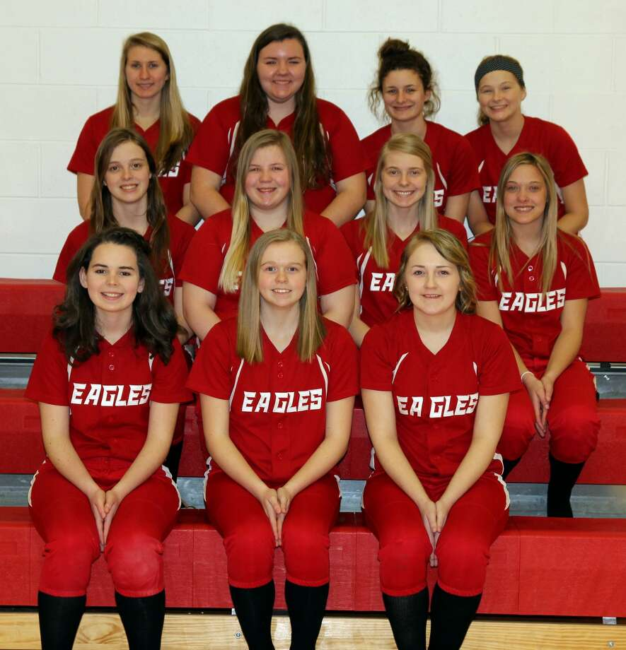 Members of the Caseville varsity softball team are (front row from left) Chentel Hill, Kaylin Ewald and Dezera Breismiester (middle) Olivia Grates, Natalie Campis, Heidi Ewald and Abby Talaski (back) Carly Simmons, Kylie Bilkie, Kyah Learman and Becca Simpson. Photo: Mike Gallagher/Huron Daily Tribune