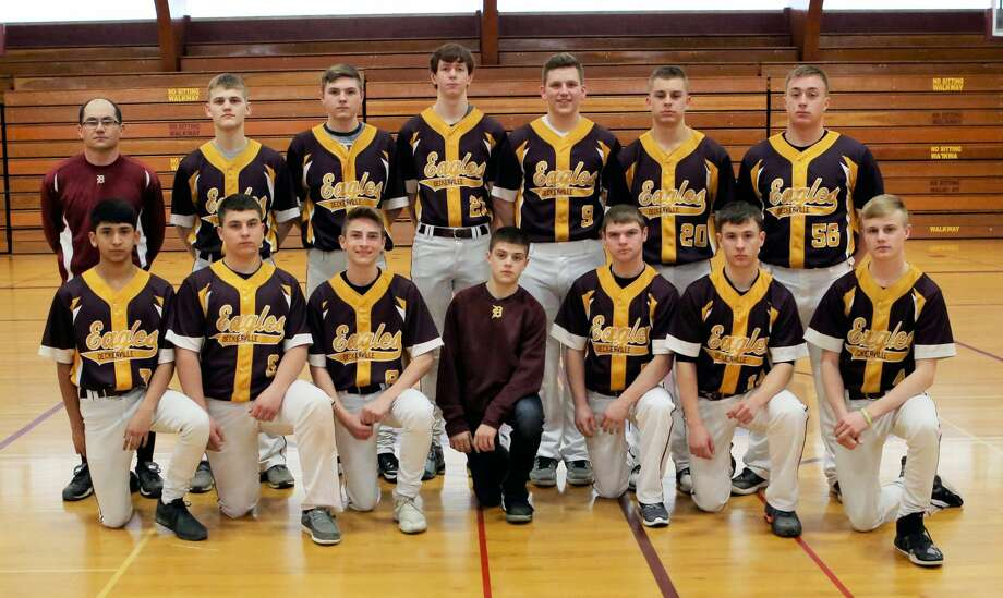 Members of the Deckerville varsity baseball team are (front row from left) Carlos Ibarra, Connor Lamont, Traiten Colesa, manager Kris Kosal, Kenton Bowerman, Brendan Kreiner and Wyatt Watson (back row) coach Todd Walker, Cole Romzek , Richie Oldenburg, Derek Dreher, Wyatt Janowiak, Jeff Stone and Curtis Vogel. Missing  are Zack Ostrowski and Isaac Keinath. Photo: Sharon Rich/For The Tribune