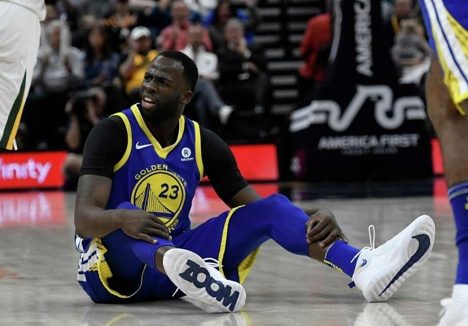 Draymond Green #23 of the Golden State Warriors looks for a foul call in the first half of a game against the Utah Jazz at Vivint Smart Home Arena on April 10, 2018 in Salt Lake City, Utah. Photo: Gene Sweeney Jr. / Getty Images / 2018 Gene Sweeney Jr.
