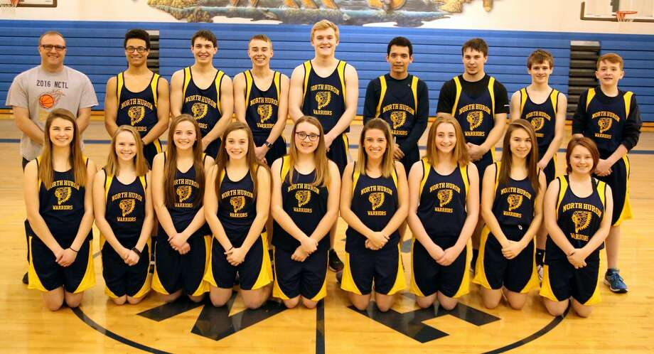 Members of the North Huron track team are (front row from left) Hannah Gorkowski, Shelby Knoblock, Grace Wiley, Lucy Wiley, Tegan Kozlowski, Faith Yageman, Sydney Sutliff, Casey Baranski and Whitney Leese (back row) coach Chad Knoblock, De'Andre Morris, Nick Craig, Ben Zaleski, Andrew Pechette, Juan Medina, Mike Craig, Ty Woodke and Maxwell Iseler. Photo: Paul P. Adams/Huron Daily Tribune