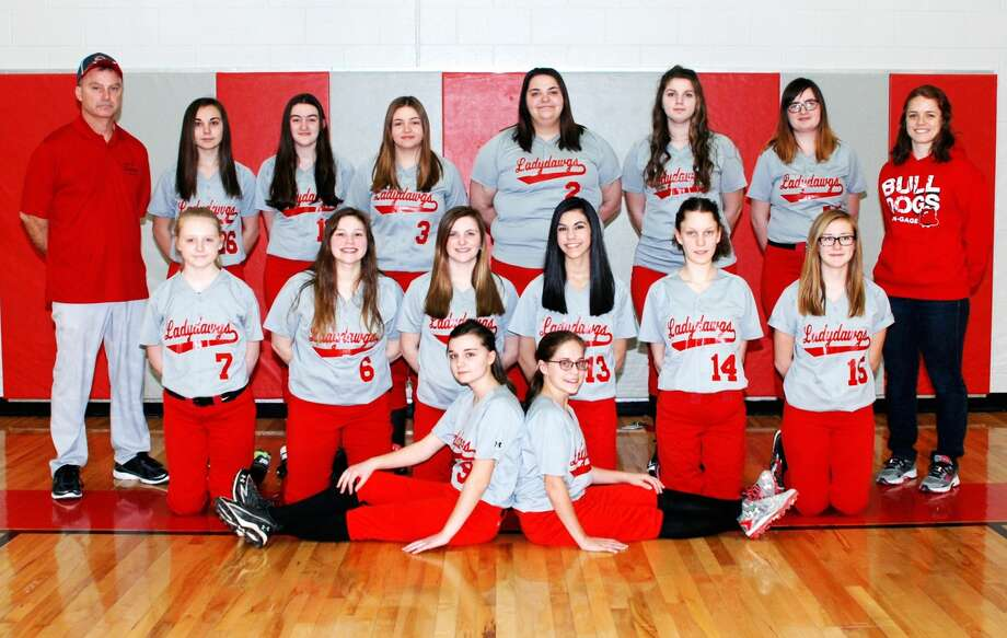 Members of the Owendale-Gagetown softball team are (front row from left) Madelyn Haldane and Libby Ondrajka (middle row) Monee Schember, Sierra Mascorro, Kaitlyn LaCroix, Aaliyah Gonzales, Jessica Partaka and Megan Fritz (back row) coach Bob Haldane, Carley Haldane, Carlee Rievert, Natasha Dubs, Madyson Menzel, Alyson Witzke, Cydnee Waske and assistant coach Alyssa  Briolat. Missing is Hailey Schave.  Photo: Julie Warack/For The Tribune