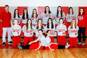 p.p1 {margin: 0.0px 0.0px 0.0px 0.0px; font: 18.0px Calibri} span.s1 {font-kerning: none}    Members of the Owendale-Gagetown softball team are (front row from left) Madelyn Haldane and Libby Ondrajka (middle row) Monee Schember, Sierra Mascorro, Kaitlyn LaCroix, Aaliyah Gonzales, Jessica Partaka and Megan Fritz (back row) coach Bob Haldane, Carley Haldane, Carlee Rievert, Natasha Dubs, Madyson Menzel, Alyson Witzke, Cydnee Waske and assistant coach Alyssa  Briolat. Missing is Hailey Schave.