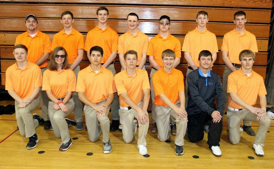 Members of the Ubly golf team are (front row from left) Austin Cregeur, Danielle Briolat, Justin Briolat, Jake Uhl, Nick Wright, Joseph Sieradzki and Levi Block (back row) coach David Hanson, Ethan Peruski, Isaac Warczinsky, Eli Emming, David Sorenson, Blake Badger and Zachary Ziehm. Photo: Paul P. Adams/Huron Daily Tribune