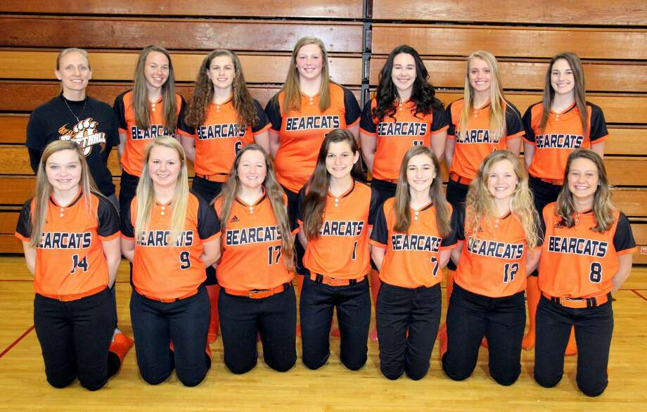 Members of the Ubly varsity softball team are (front row from left) Madelyn Bukoski, McKenzie Stomach, Chantelle Burk, Kelsey Knoblock, Cheyenne Porzodek, Mikaela VanErp and Madelyn Smalley (back row) coach Courtney Dekoski, Janelle White, Bethany Gronowicz, Katelyn Sweeney, Saide Souva, Natalie Pallas and Rachel Cook. Missing are Savannah Walker and coach Coleen Stone. Photo: Paul P. Adams/Huron Daily Tribune