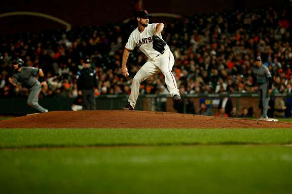 San Francisco Giants starting pitcher Tyler Beede (38) during an MLB game between the San Francisco Giants and Arizona Diamondbacks at AT&T Park, Tuesday, April 10, 2018, in San Francisco, Calif.