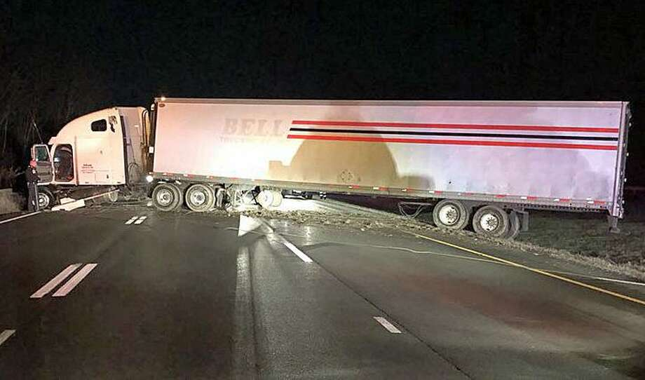A truck carrying potato salad jackknifed on I-84 west Wednesday, April 11, 2018 in Middlebury. The accident that happened near Exit 16 in Middlebury just before 4:30 a.m. closed the westbound lanes for about two hours. There were no serious injuries, State Police said. Traffic was detoured off the highway to allow crews to tow away the truck and cleanup a fuel spill. Photo: CT State Police Photo