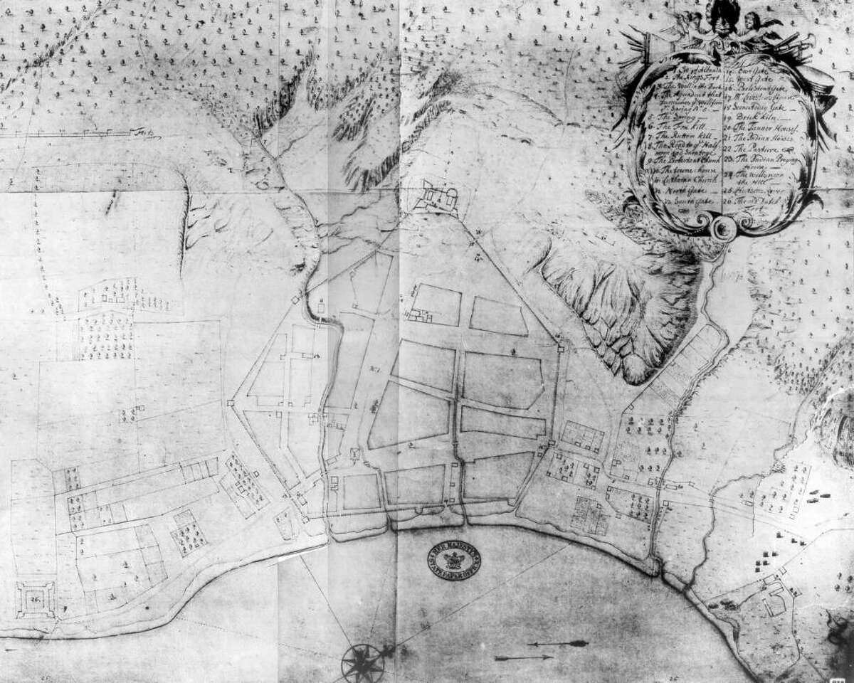 Map shows the fort surrounding modern-day Albany as it looked in 1698
