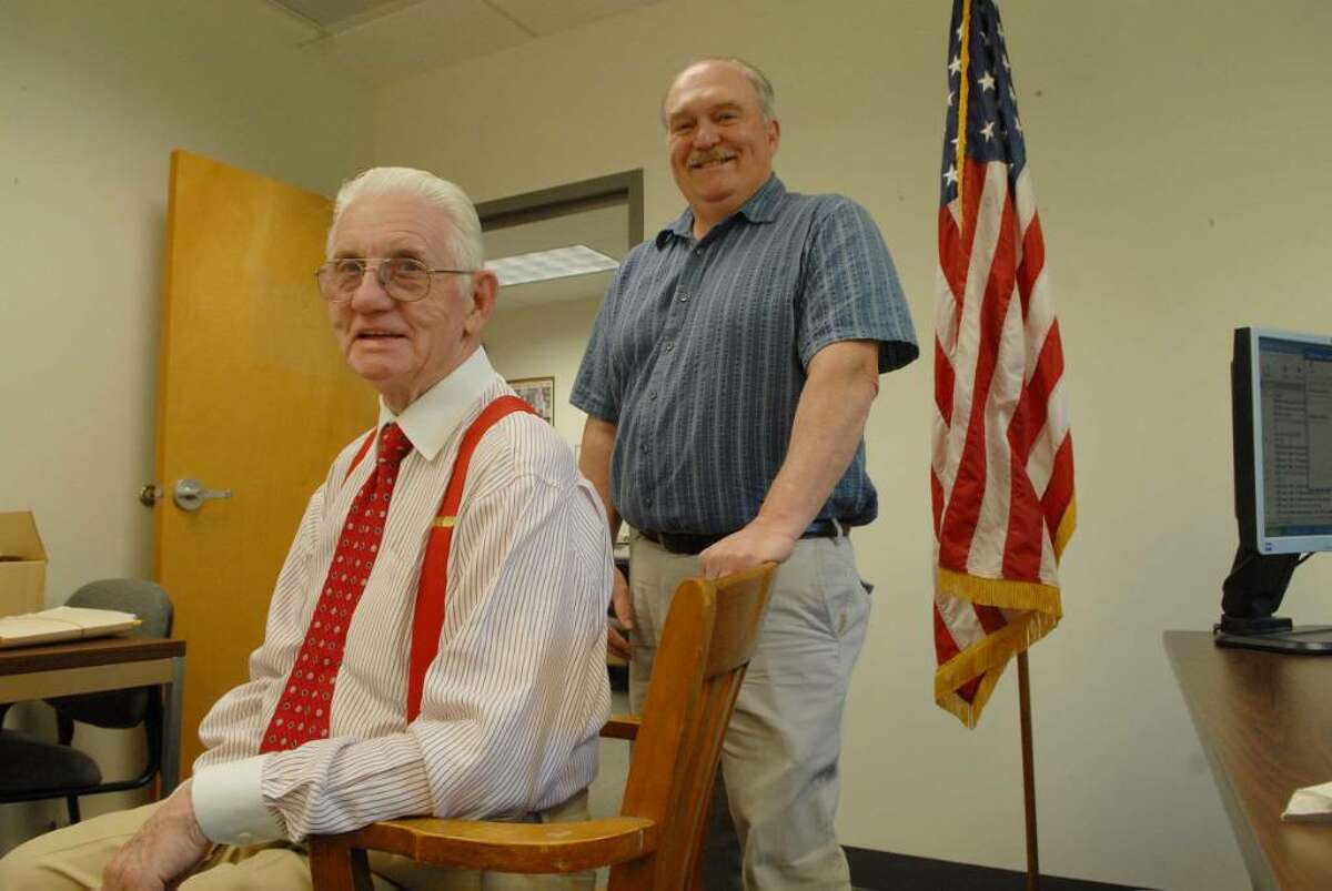 Bob Mitchell, left, retired this week as director of Saratoga County's Veterans Service Agency. Former Veterans Service Officer Victor Isca, right, retired in March. (Paul Buckowski / Times Union)