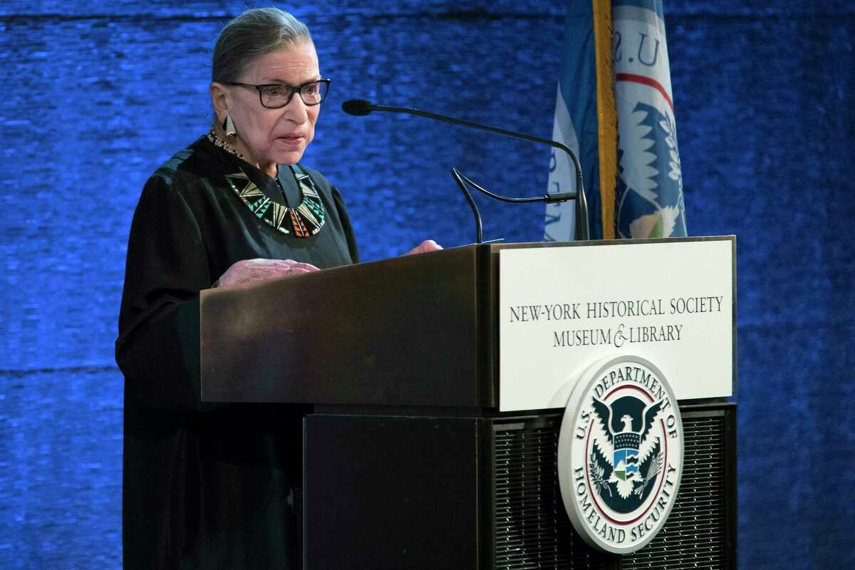 U.S. Supreme Court Justice Ruth Bader Ginsburg delivers a speech during a swearing in ceremony for new American citizens, Tuesday, April 10, 2018, in New York. Justice Ginsberg administered the Oath of Allegiance to 200 immigrants from 59 countries who became U.S. citizens. (AP Photo/Mary Altaffer)