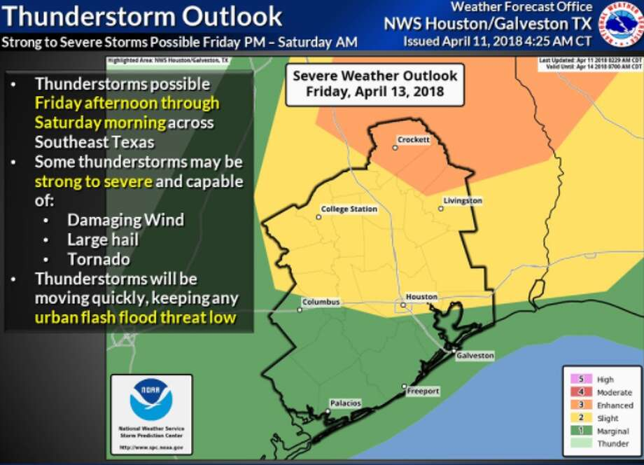 The Houston area could see more severe weather Friday afternoon, April 13, 2018, to Saturday morning, April 14, 2018.
