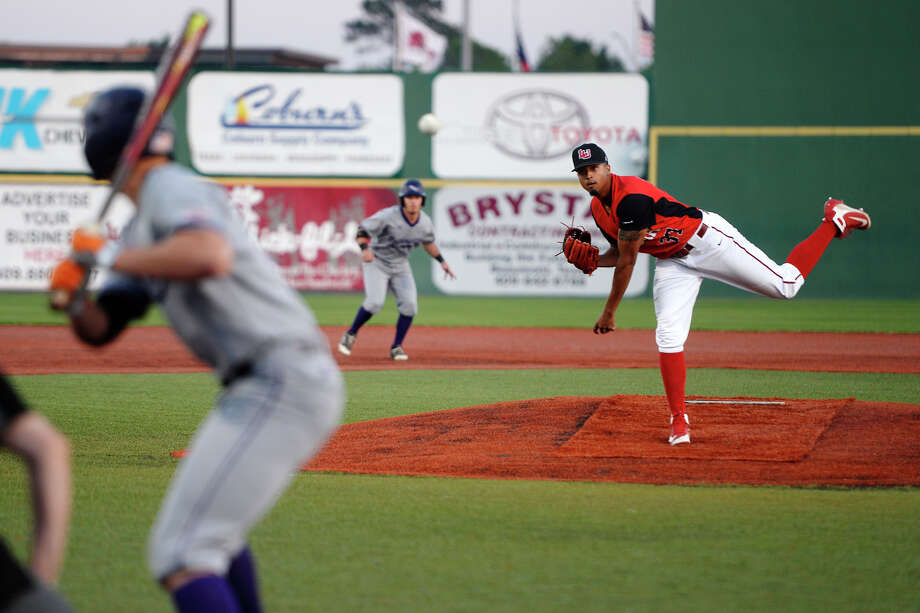 Lamar's AbeRee Hiebert pitches as the Cardinals baseball team takes on Northwestern State at Vincent-Beck Stadium.  Photo taken Tuesday 4/10/18 Ryan Pelham/The Enterprise Photo: Ryan Pelham / ©2018 The Beaumont Enterprise/Ryan Pelham