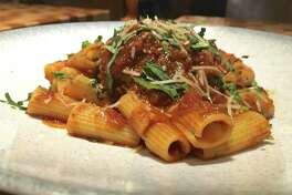 Rigatoni with giant stuffed meatball at Osso and Kristalla
