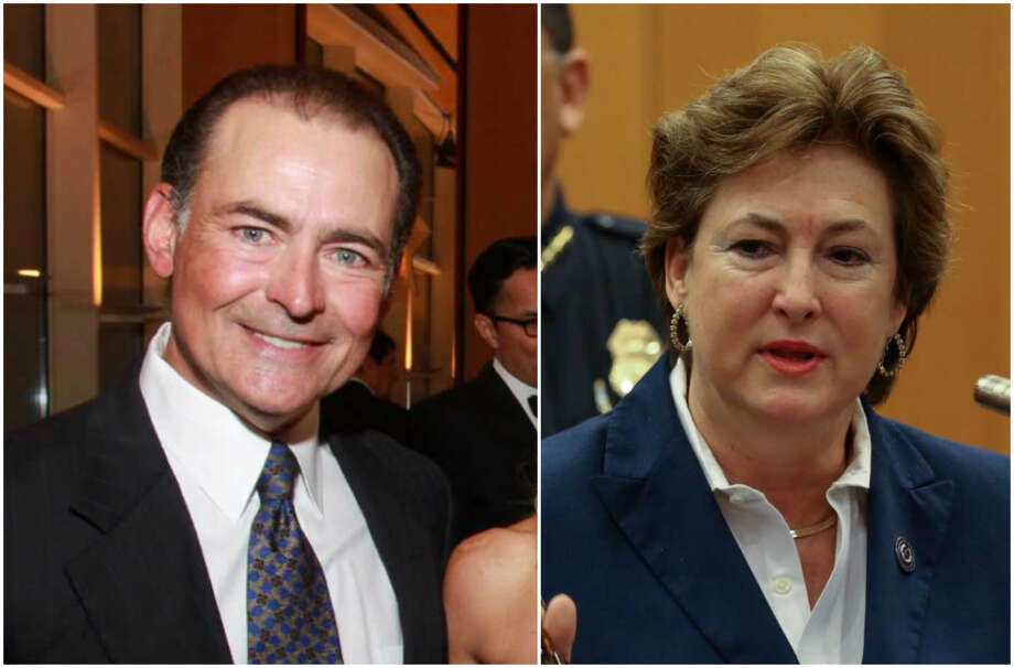 Harris County Treasurer Orlando Sanchez and Harris County District Attorney Kim Ogg. Photo: Chronicle File