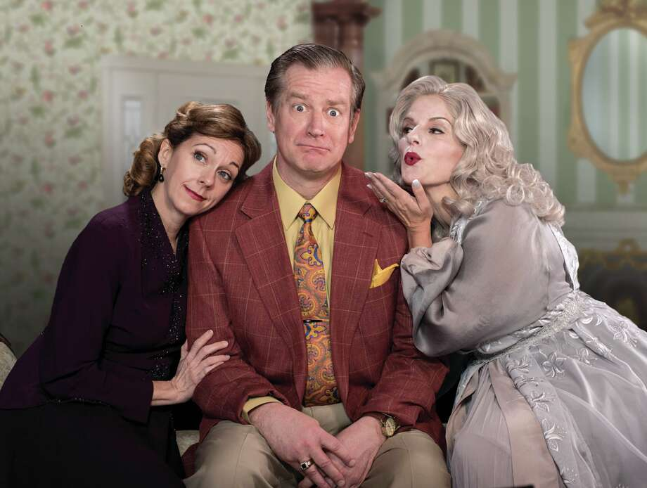 "From left, Brenny Rabine, Gary Lindemann and Yvonne Perry in ""Blithe Spirit"" at Capital Repertory Theatre. Photo: Blithe Spirit, Kate Penn/The Rep"