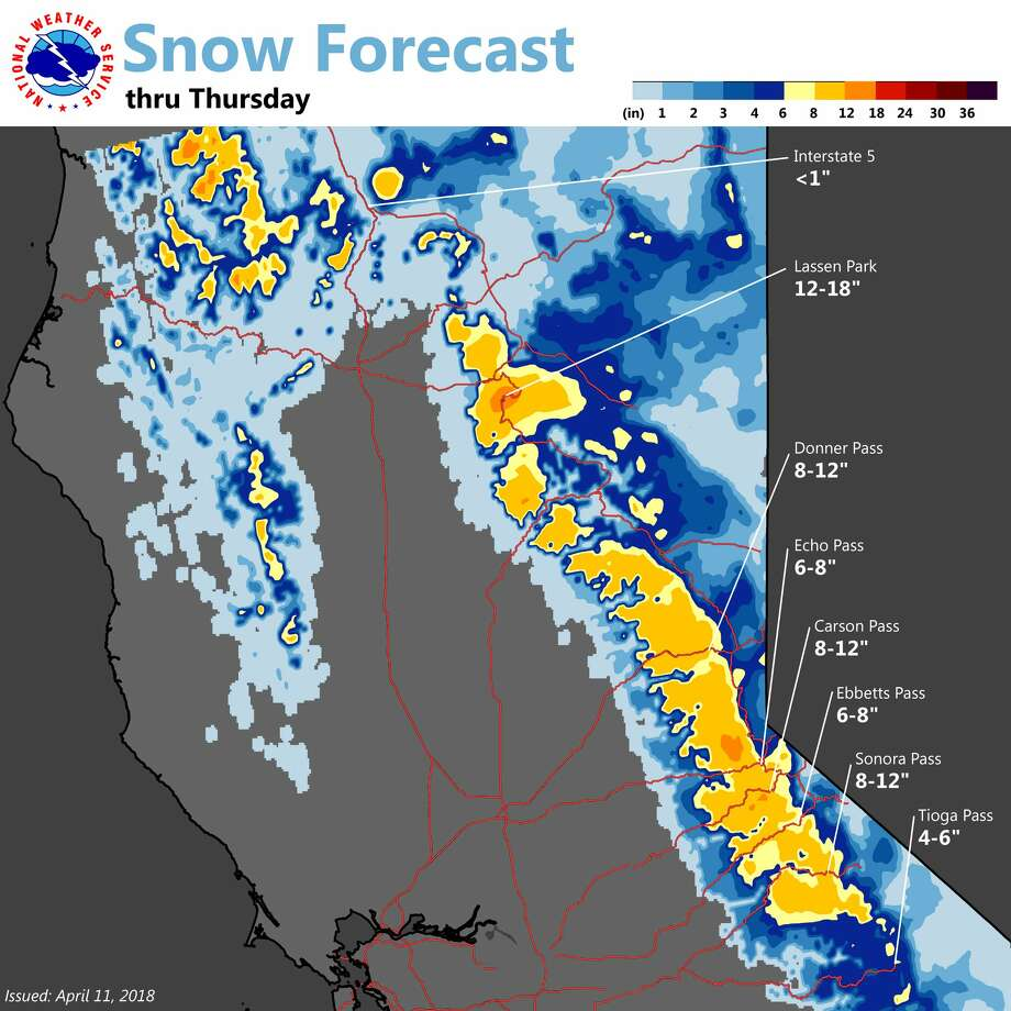 Snow returns to the higher elevations of interior Northern California later Wednesday. The National Weather Service in Sacramento advises travelers to look for deteriorating road conditions across the higher mountain passes by this evening. Photo: National Weather Service Sacramento