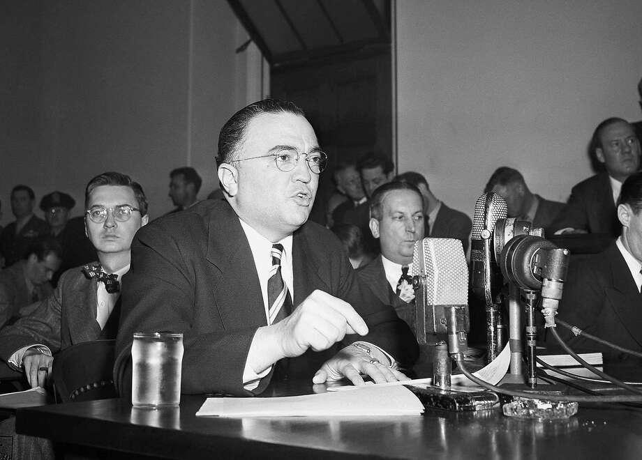 A Congressman compared Mark Zuckerberg to J. Edgar Hoover at a hearing Wednesday. Photo: Associated Press 1947