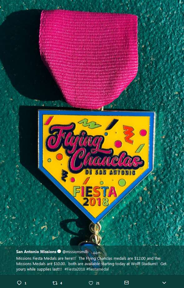 The $12 Flying Chanclas medal comes with a tiny flip flop that  dangles from the main piece of hardware. The Missions are also selling a  medal in recognition of their official name for $10. Photo: Twitter.com/missionsmilb