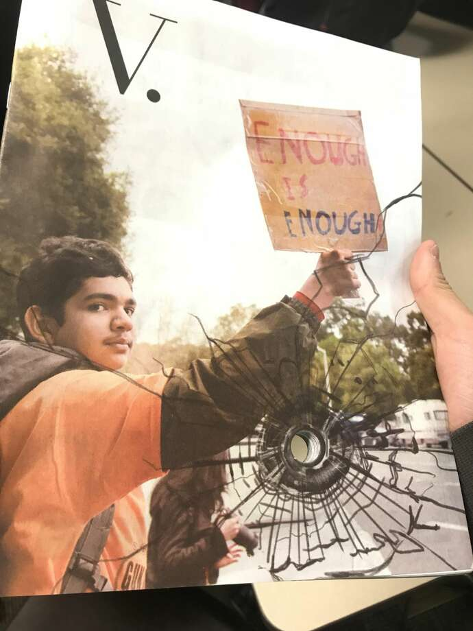 Palo Alto High School's Verde Magazine has captured the internet's attention with the design choice to feature a bullet hole through it in response to the Florida school shooting Feb. 14. Photo: Verde Magazine