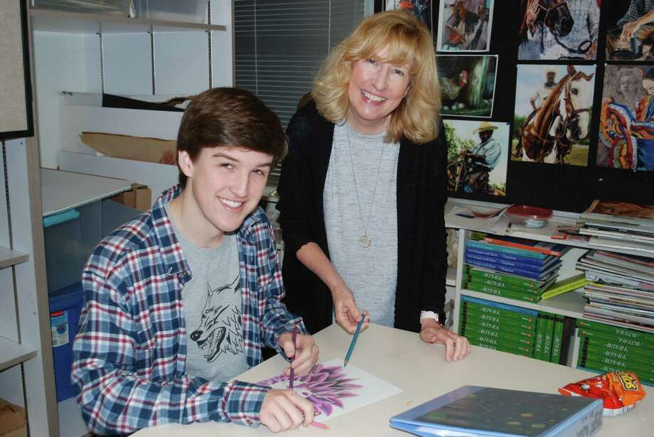 Memorial High School sophomore Evan Pruett and one of his teachers, Elisa Barry. Photo: Courtesy Photo