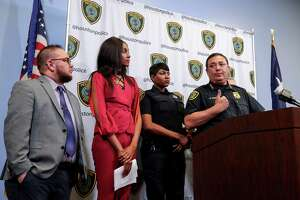 Houston Police Chief Art Acevdo, from right, E'Thel Joseph, LGBT liaison for HPD, Jessica Zyrie, a transgender case manager at the Montrose Center, and Lou Weaver, transgender programs coordinator for Equality Texas, are seen during a press conference about a police training program to help officers with LGBT awareness and other issues, at the headquarters of the Houston Police Department Wednesday, April 11, 2018, in Houston.