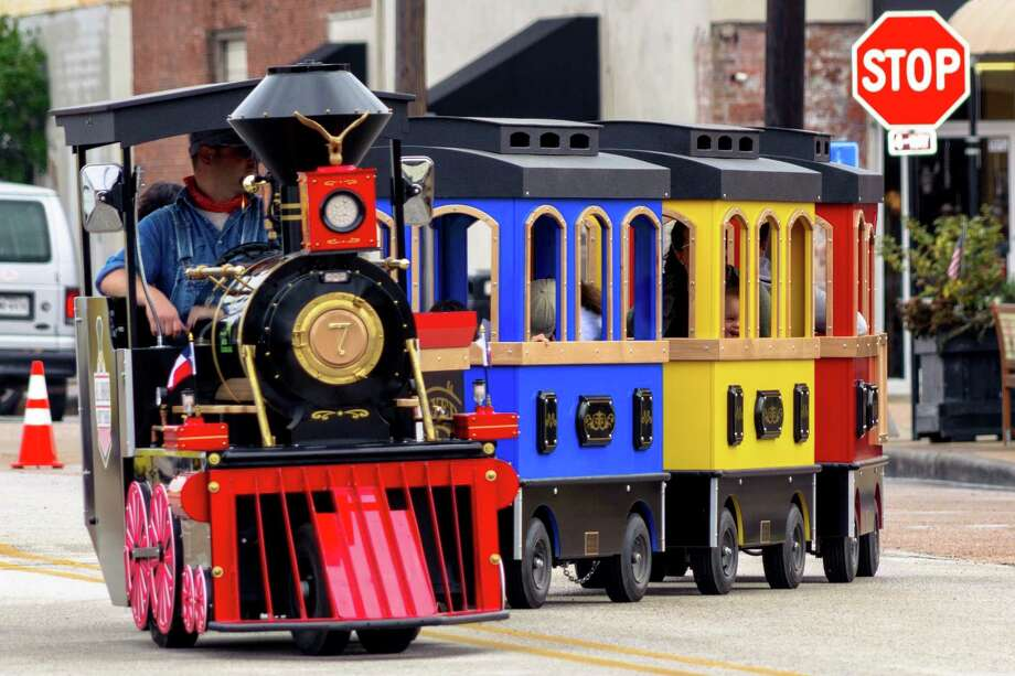The Texas Flyer trackless train is expected to be featured at the 2020 Railfest at the Rosenberg Railroad Museum from 10 a.m. to 4 p.m. Saturday, March 28. Shown here is the Texas Flyer at Railfest 2018. Photo: Rosenberg Railroad Museum / Candlelight Products 2017