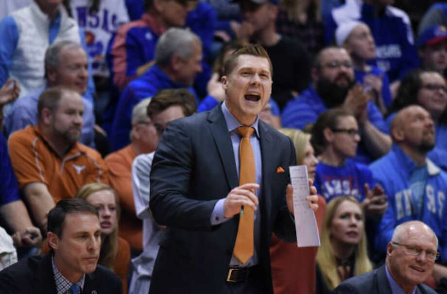 LAWRENCE, KS - FEBRUARY 26: Mike Morrell assistant coach for the Texas Longhorns directs players against the Kansas Jayhawks at Allen Fieldhouse on February 26, 2018 in Lawrence, Kansas. (Photo by Ed Zurga/Getty Images) Photo: Ed Zurga/Getty Images