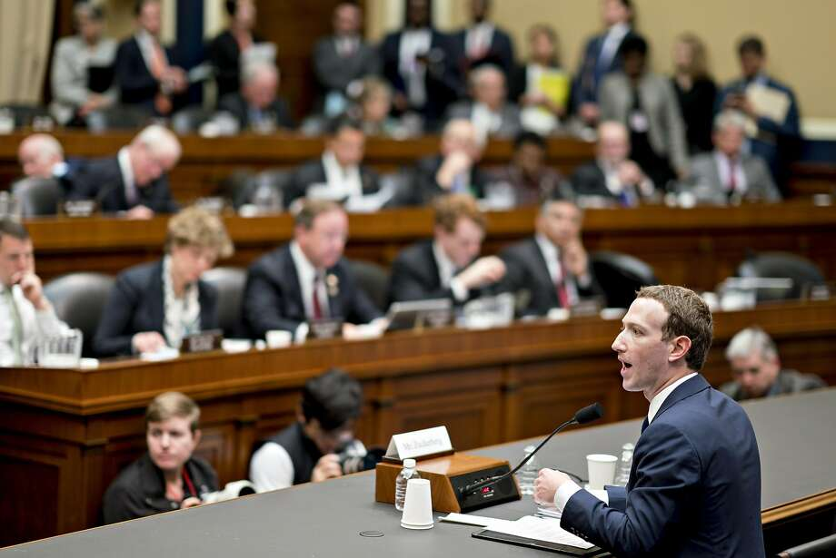 Facebook CEO Mark Zuckerberg speaks during a House Energy and Commerce Committee hearing in Washington, D.C. Zuckerberg withstood two days of questioning in Congress last week.  Photo: Andrew Harrer, Bloomberg