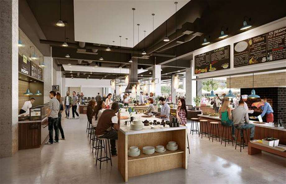 An artist rendering of a cafeteria at 45 Glover Ave. in Norwalk, Conn., where FactSet plans to relocate its headquarters in 2019 from the nearby Merritt 7 Office Park. (Rendering via Securities & Exchange Commission)